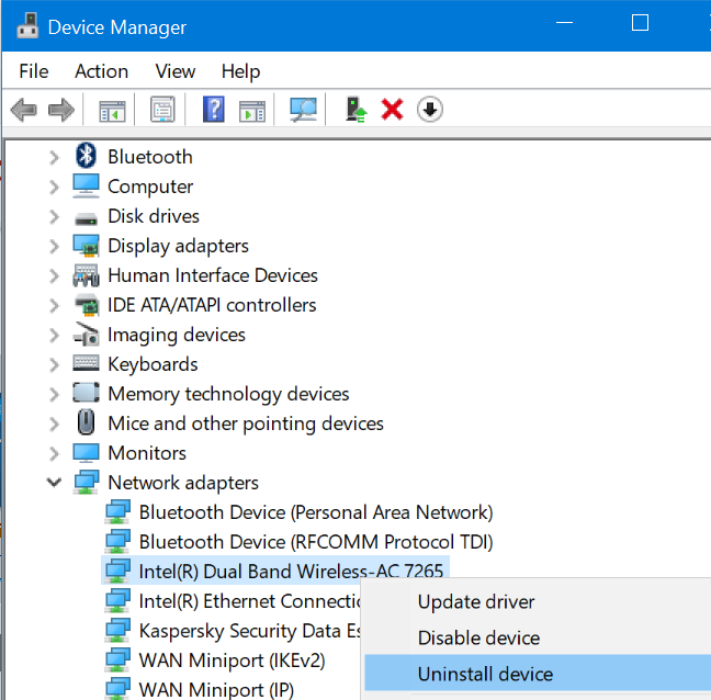 Device Manager - Uninstall device