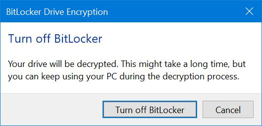 Mematikan BitLocker