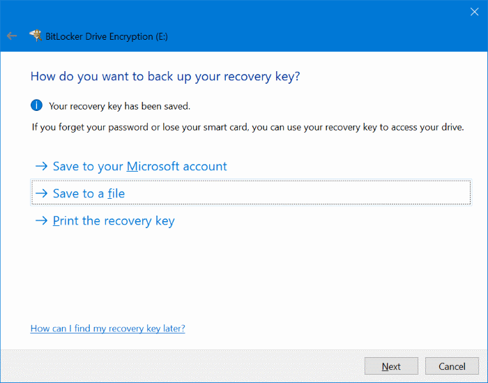 Opsi recovery BitLocker