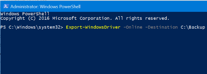 Backup driver Windows 10 PowerShell