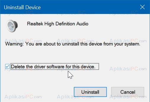 Hapus Driver Realtek