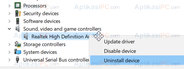 Uninstall Driver Realtek