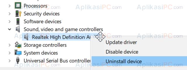 Uninstall Driver Realtek