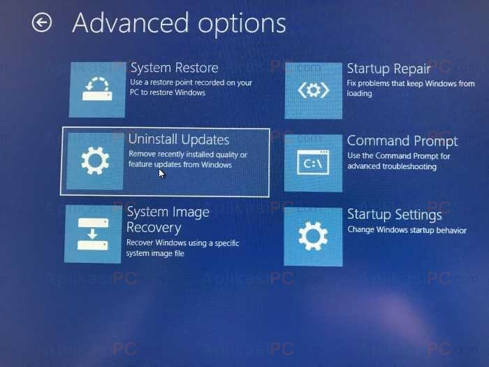 Advanced Options - Uninstall Updates - Windows 10