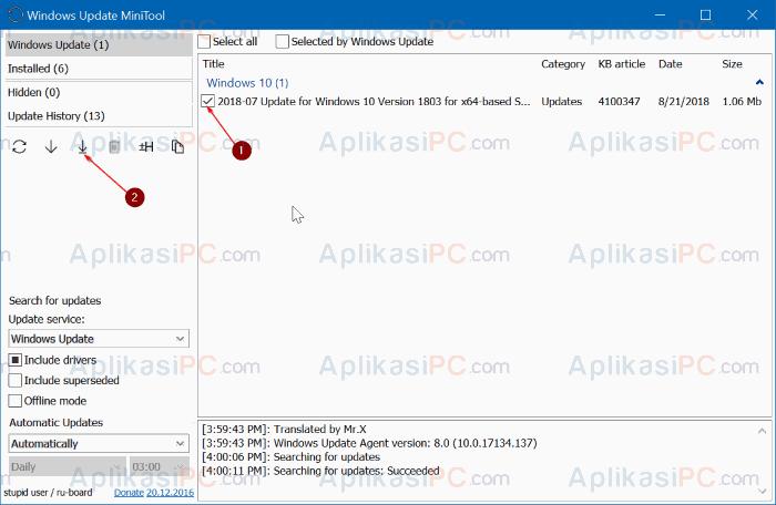 Install update Windows Update MiniTool