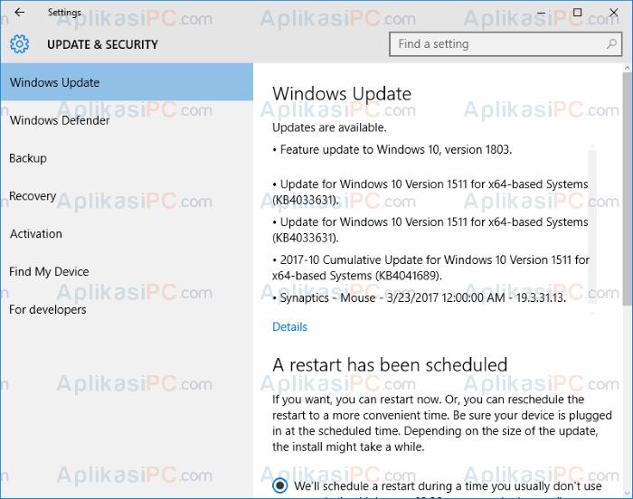 Settings - Update Windows 10