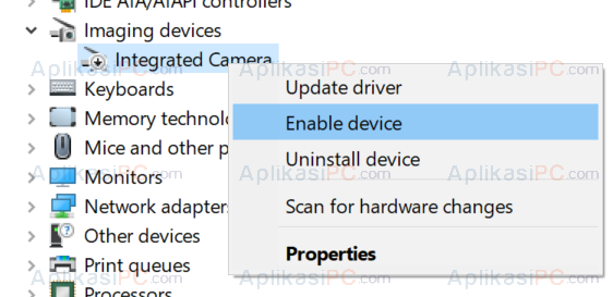 Device Manager - Imaging Device - Enable Camera