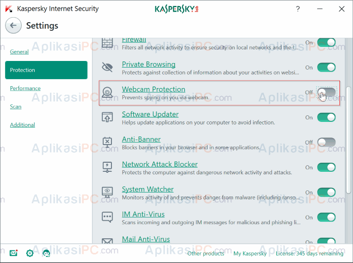 Kaspersky Internet Security - Webcam