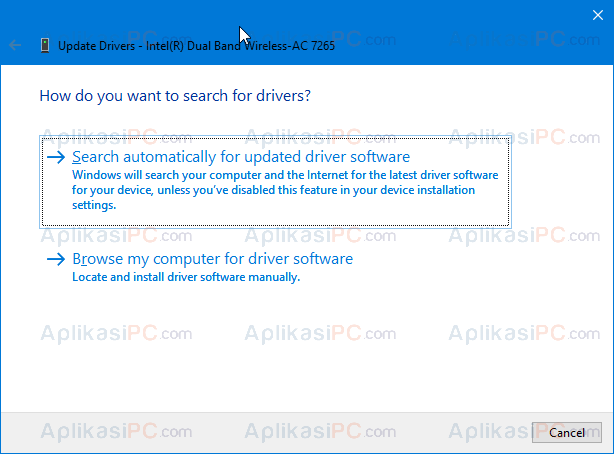 Device Manager - Update Driver - Search automatically for updated driver software