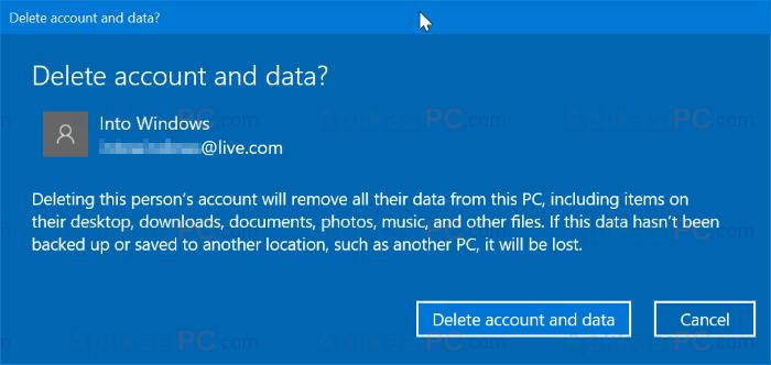 Hapus Akun Microsoft Windows 10