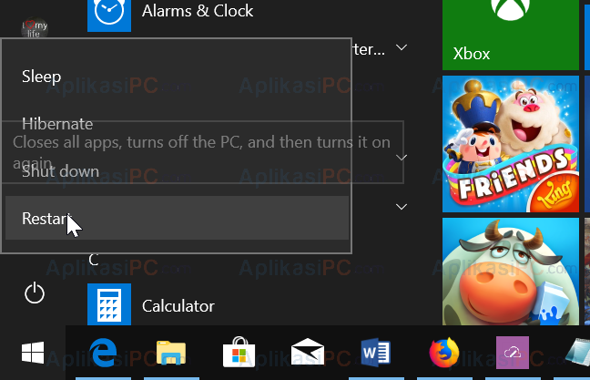 Start Menu - Shift - Restart