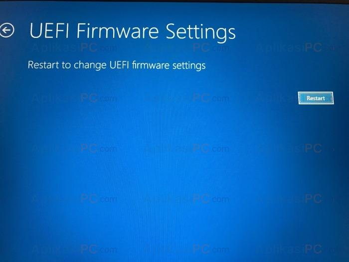 UEFI Firmware settings - Restart