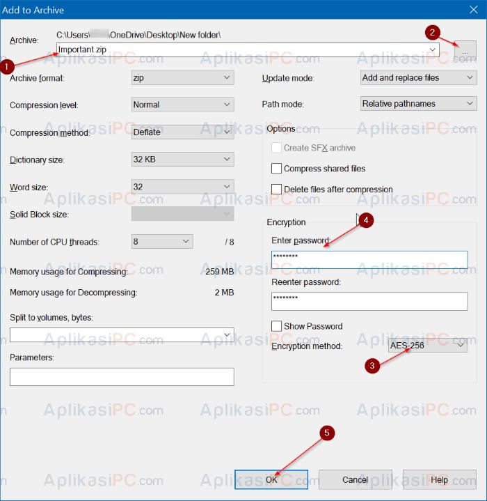 7-ZIP - Password File dan Folder
