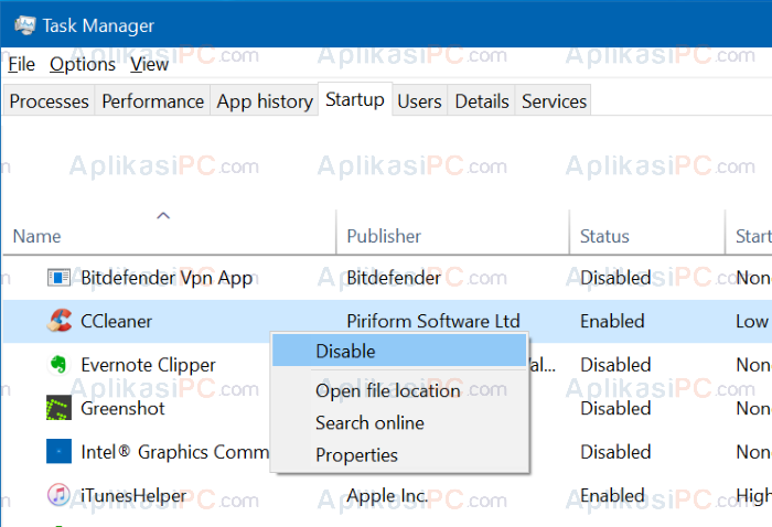 Disable Aplikasi Startup di Task Manager