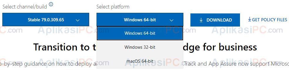 Select Platform - Download Edge Chromium Offline Installer