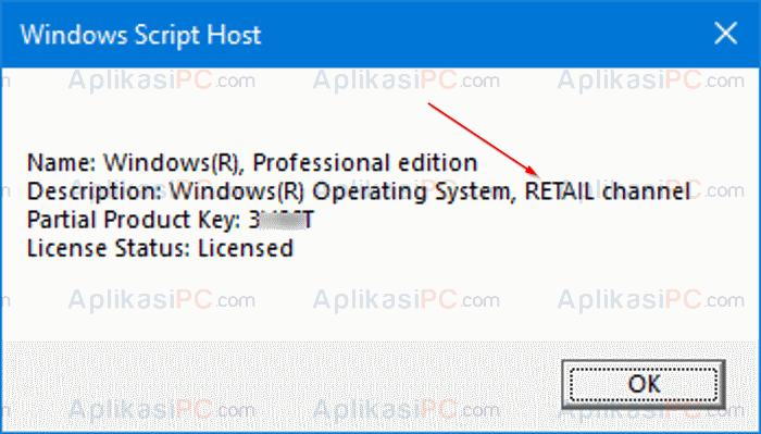 Status Aktivasi Windows 10 - slmgr –dli