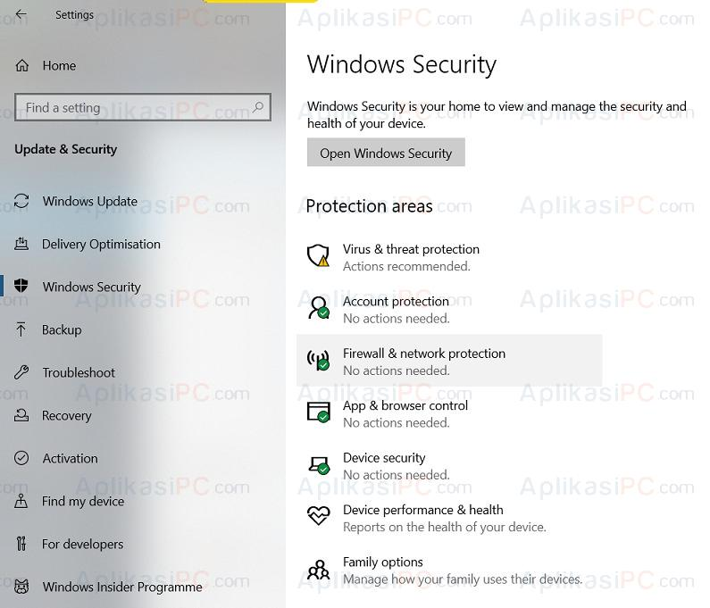 Update & Security - Windows Security - Protection areas
