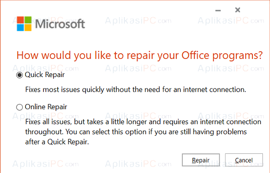 Quick Online Repair Microsoft Office