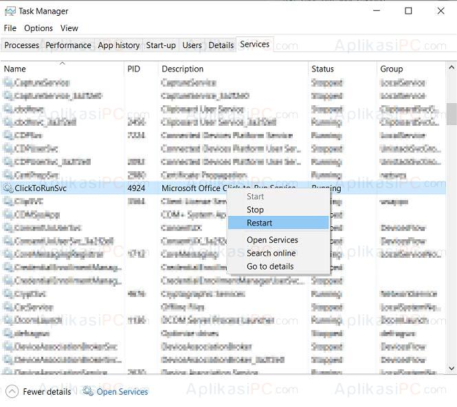 Task Manager - Services - ClickToRunSvc - 0xc0000142