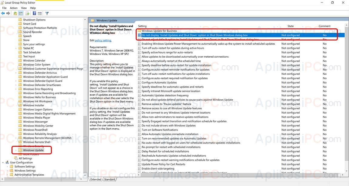 Group Policy Editor - Windows Update