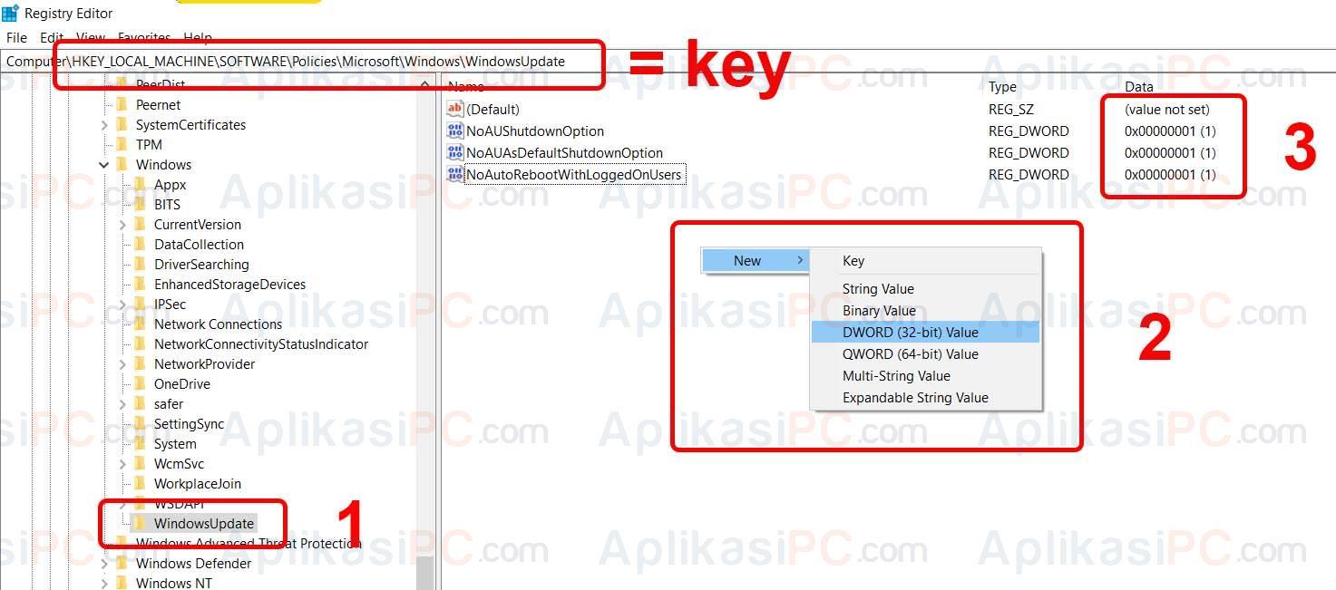 RegEdit Windows Update & Shutdown Restart