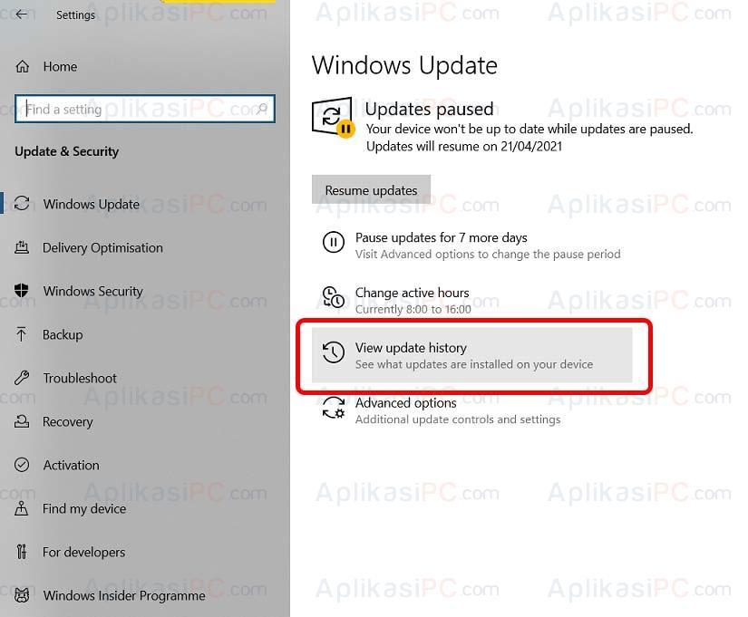 Update & Security - Windows Update - View update history