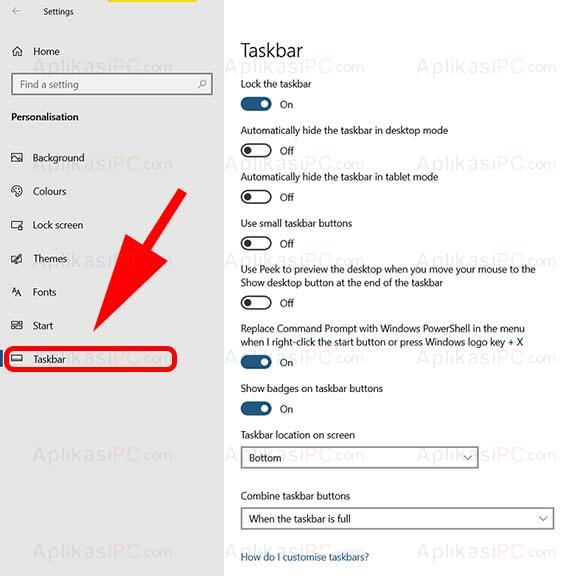 Personalisation - Taskbar