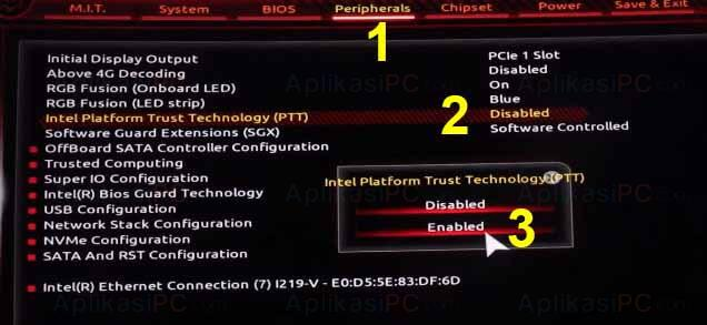BIOS - Intel Platform Trust Technology (PTT)