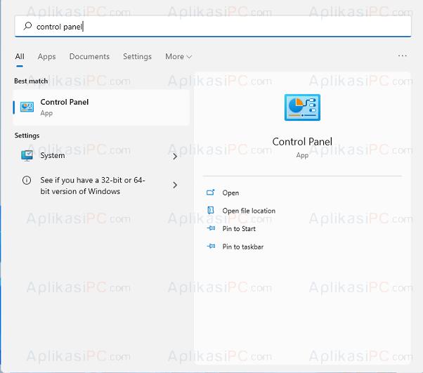 Buka Control Panel Windows 11