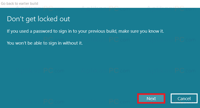 Go back to earlier build - Password Microsoft Account
