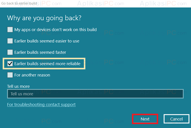 Go back to earlier build - Select Reason