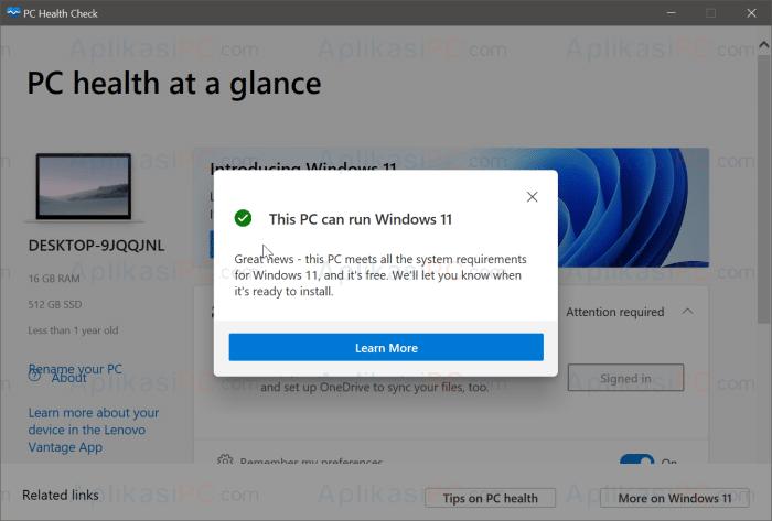 PC Health Check - Bisa Menjalankan Windows 11