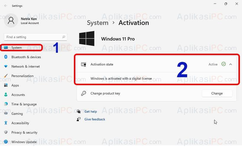 Settings - System - Activation