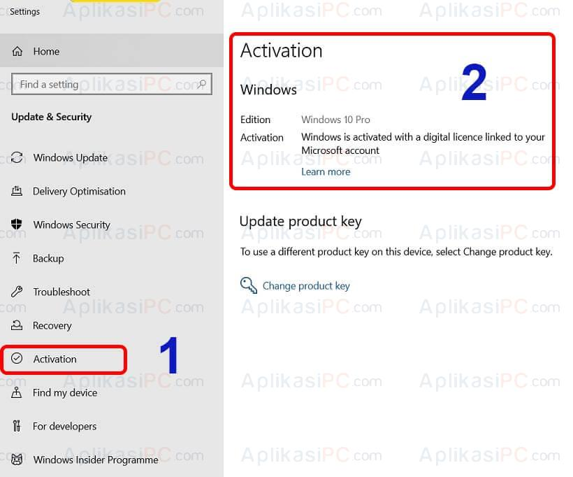 Settings - Windows & Security - Activation