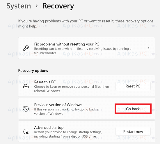 System - Recovery - Go back