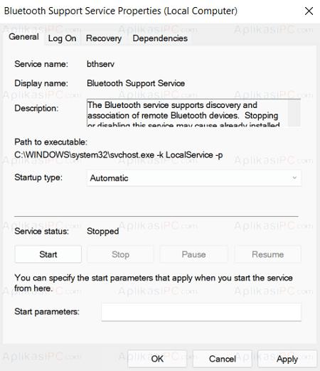 Bluetooth Support Service - Properties