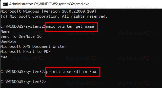 Command Prompt - Hapus Printer Windows 11
