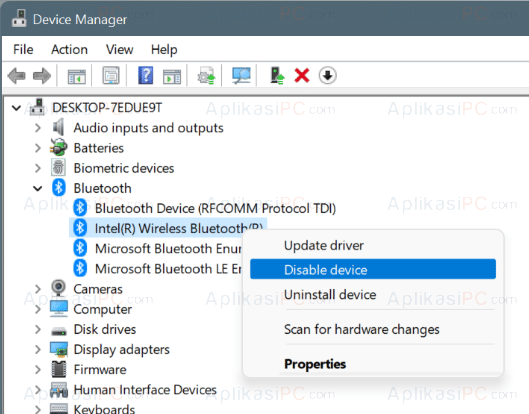 Device Manager - Bluetooth - Disable device