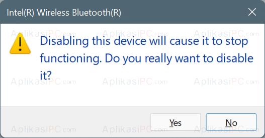 Konfirmasi Disable Device