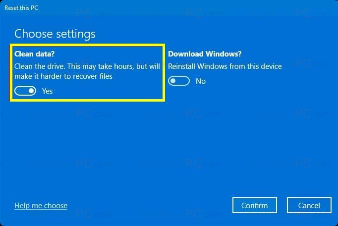 Reset PC Windows 11 - Clean Data