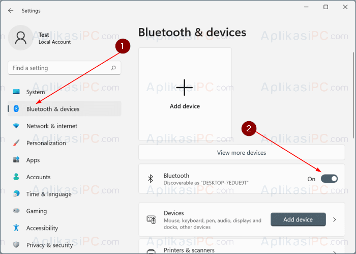 Settings - Bluetooth & devices Windows 11