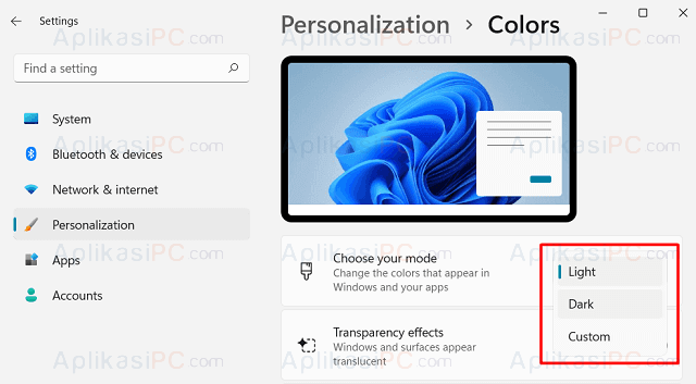 Settings - Personalization - Colors