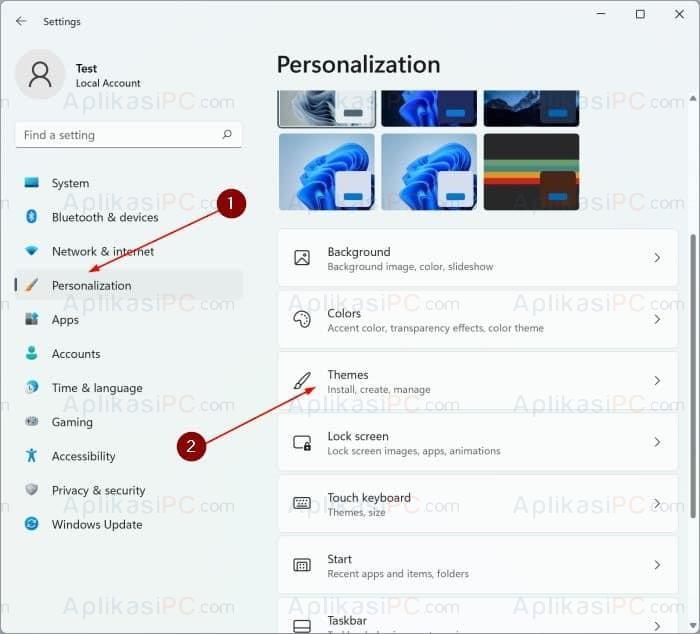 Settings - Personalization - Themes