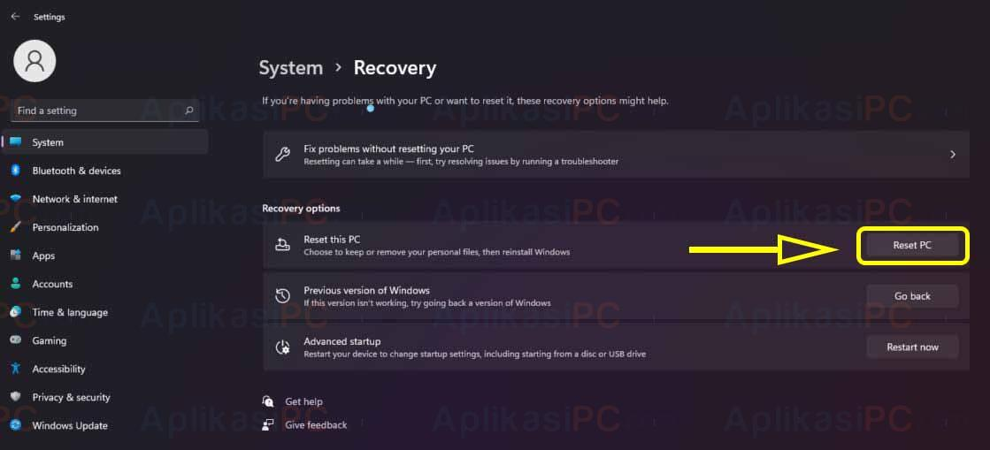 Settings - System - Recovery - Reset PC