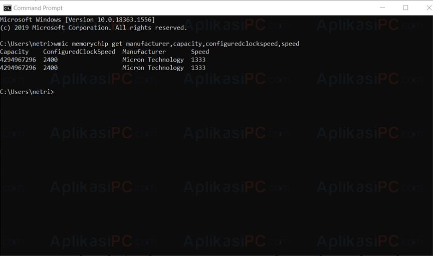 Command Prompt - Spesifikasi RAM