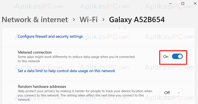Settings - Network & Internet - Properties - Metered Connection