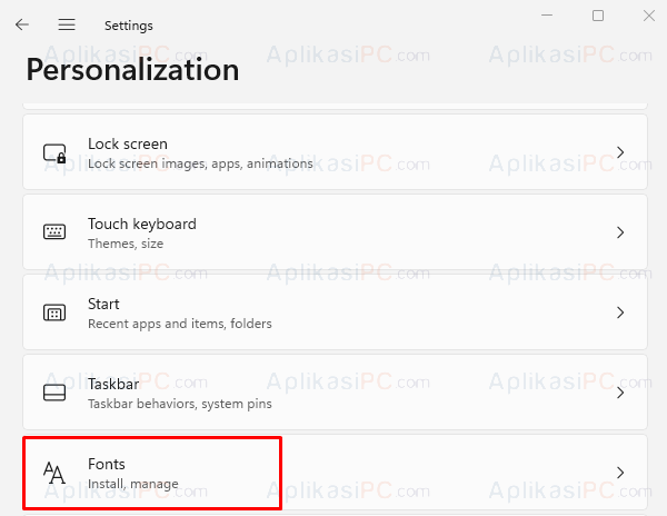 Settings - Personalization - Fonts