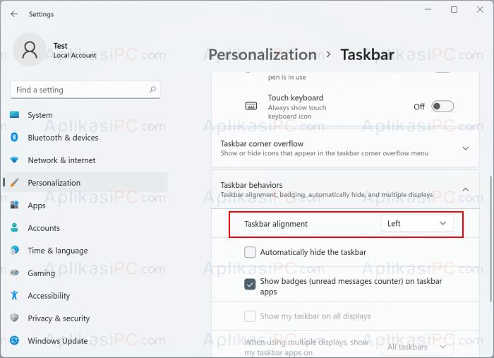 Settings - Personalization - Taskbar Behavior