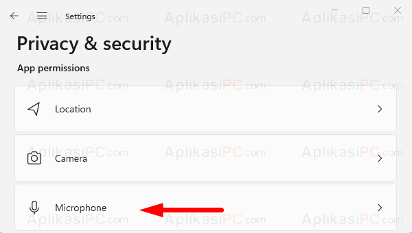 Settings - Privacy & Security - Microphone