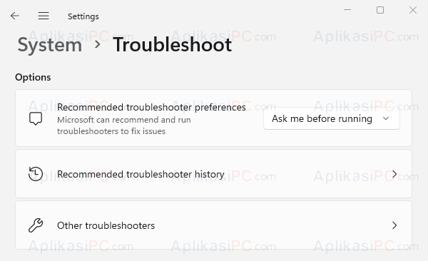 Settings - System - Troubleshoot
